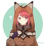 1girl animal_ears artist_request blush breasts cat_ears homura_(xenoblade_2) hood jewelry large_breasts looking_at_viewer red_eyes redhead short_hair smile solo white_background xenoblade xenoblade_2