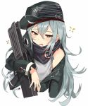 1girl absurdres ahoge assault_rifle bangs bare_shoulders blush brown_eyes bullpup cropped_torso eyebrows_visible_through_hair g11 g11_(girls_frontline) girls_frontline green_jacket grey_shirt gun hair_between_eyes half-closed_eyes hat heckler_&_koch highres holding holding_gun holding_weapon jacket long_hair long_sleeves looking_at_viewer magazine_(weapon) messy_hair open_clothes open_mouth red_scarf rifle scarf scarf_on_head scope shirt shoulder_cutout sidelocks signature silver_hair solo tuxedo_de_cat very_long_hair weapon white_background yawning