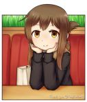 1girl blush brown_eyes brown_hair closed_mouth eyebrows_visible_through_hair hands_on_own_head inazuma_(kantai_collection) jacy kantai_collection long_sleeves looking_at_viewer medium_hair sitting smile solo sweater