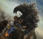 2013 battle building cityscape claws commentary dated deviantartnobackstreetboys drill epic fangs flying godzilla godzilla_(series) holding jaws jet_jaguar kaijuu mecha megalon monster realistic riding robot science_fiction signature smack smoke spikes tail thrusters