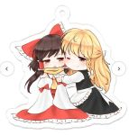 2girls ;) apron ascot blonde_hair blush bow braid brown_hair chibi commentary detached_sleeves hair_bow hair_tubes hakurei_reimu half_updo hug keychain kirisame_marisa large_bow long_hair long_sleeves multiple_girls one_eye_closed red_eyes reimu_mikoro scarf side_braid single_braid sitting skirt smile touhou tsundere vest waist_apron yellow_eyes yellow_neckwear yuri