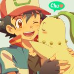 1boy ;d bangs baseball_cap black_gloves black_hair black_shirt blue_jacket blush chikorita cyaneko fingerless_gloves gen_2_pokemon gloves grey_background hat heart holding jacket kiss male_focus one_eye_closed open_clothes open_jacket open_mouth pokemon pokemon_(anime) red_eyes red_hat satoshi_(pokemon) shirt short_sleeves simple_background smile speech_bubble tareme upper_body upper_teeth