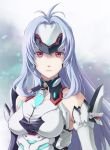 1girl android artist_request blue_hair breasts expressionless forehead_protector gloves kos-mos_re: long_hair looking_at_viewer red_eyes solo very_long_hair xenoblade xenoblade_2 xenosaga