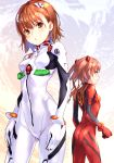 2girls :o blush bodysuit breasts brown_eyes brown_hair closed_mouth commentary_request hair_ornament long_hair medium_breasts misaka_imouto multiple_girls neon_genesis_evangelion parted_lips pilot_suit plugsuit raika9 red_bodysuit red_eyes shirai_kuroko skin_tight smile to_aru_kagaku_no_railgun to_aru_majutsu_no_index twintails white_bodysuit