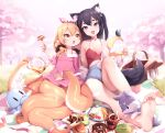 2girls :d :o animal_ears artist_name baguette bangs bare_shoulders barefoot basket black_hair blanket blonde_hair blue_ribbon blue_shorts box bread breasts butterfly cameltoe cherry_blossoms collarbone cookie cup day denim denim_shorts doughnut dress feet food fork fox fox_ears fox_tail full_body grass hair_ornament hair_over_shoulder hair_ribbon hair_scrunchie head_tilt holding holding_cup holding_fork knee_up kyuri_tizu long_hair long_sleeves looking_at_viewer low_twintails monster_girl multiple_girls octopus off_shoulder one_side_up open_mouth orange_eyes original outdoors paws pink_dress plate pointy_ears polka_dot_ribbon ribbon sandwich scrunchie scylla shiny shiny_hair short_shorts shorts single_bare_shoulder small_breasts smile soles spring_onion tail tareme teacup tentacle toes tree twintails violet_eyes