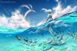 1girl blue_sky clouds commentary day fish from_behind highres long_hair motion_blur one-piece_swimsuit original partially_submerged sky solo star_(sky) starry_sky swimsuit water watermark web_address wenqing_yan whale white_hair wind