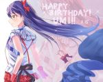 1girl birthday blue_hair bokura_wa_ima_no_naka_de commentary_request fingerless_gloves frills from_side gloves hair_between_eyes hair_ribbon happy_birthday long_hair love_live! love_live!_school_idol_project necktie plaid plaid_skirt red_gloves ribbon shaka_(staito0515) shirt short_sleeves skirt smile solo sonoda_umi white_shirt yellow_eyes