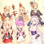 >_< 6+girls :d anchor_symbol azur_lane bangs beige_background black_jacket black_panties black_ribbon black_shirt blonde_hair blue_capelet blue_dress blue_eyes bow breasts brown_eyes capelet cleavage closed_eyes closed_mouth collarbone collared_shirt commentary_request crown detached_sleeves double_v dress eyebrows_visible_through_hair fang fringe gloves hair_between_eyes hair_bow hair_ribbon hat headgear high_ponytail highres holding holding_sword holding_weapon hood_(azur_lane) illustrious_(azur_lane) jacket javelin_(azur_lane) juneau_(azur_lane) kaina_(tsubasakuronikuru) long_hair long_sleeves medium_breasts mini_crown multiple_girls neckerchief necktie open_mouth outstretched_arm panties pink_neckwear ponytail print_capelet purple_hair queen_elizabeth_(azur_lane) red_neckwear red_skirt ribbon scarf shirt side-tie_panties sidelocks silver_hair simple_background skirt sleeveless sleeveless_shirt smile sword thick_eyebrows underwear union_jack v v-shaped_eyebrows very_long_hair violet_eyes warspite_(azur_lane) weapon white_bow white_dress white_gloves white_hat white_scarf white_shirt white_skirt