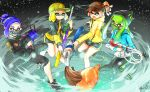 .96_gal_(splatoon) 4girls aqua_jacket artist_name bandana_over_mouth bangs baseball_cap beanie bike_shorts black_eyes black_footwear black_hat black_jacket black_pants blonde_hair blue_hair blunt_bangs brown_eyes brown_hat camouflage_hat closed_mouth commentary domino_mask face_mask goo_tuber_(splatoon) green_eyes green_hair green_hat hat headgear highres holding holding_weapon inkbrush_(splatoon) inkling inkling_(language) jacket leg_up logo long_hair long_sleeves looking_at_viewer mask multiple_girls open_mouth paint_splatter pants pink_hair pointy_ears print_hat print_jacket red_eyes short_hair short_shorts shorts signature single_vertical_stripe skull_print smile splat_charger_(splatoon) splatoon splatoon_2 squid squidbeak_splatoon standing standing_on_one_leg tentacle_hair weapon yellow_jacket yuito_(yuitokobunasbs0)