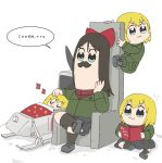 4girls :3 bangs bkub_(style) black_footwear black_hair black_legwear black_skirt blonde_hair blue_eyes bob_(you-u-kai) book bow climbing clone commentary cyrillic emblem facial_hair girls_und_panzer green_jacket hair_bow holding holding_book jacket katyusha legs_crossed loafers long_sleeves lying miniskirt multiple_girls mustache nonna on_back parody partially_translated petting pleated_skirt poptepipic pravda_school_uniform reading red_bow red_shirt russian school_uniform shirt shoes sitting skirt sleeping socks style_parody swept_bangs throne translation_request turtleneck white_background zzz