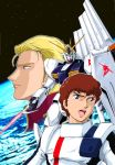 2boys amuro_ray anniversary beam_saber blonde_hair blue_eyes brown_hair char's_counterattack char_aznable char_aznable_(cosplay) cosplay earth emblem energy_sword fin_funnels funnels green_eyes gundam insignia logo looking_at_another looking_at_viewer looking_away mecha multiple_boys nu_gundam official_art open_mouth pilot_suit shield short_hair standing sword tokita_kouichi weapon