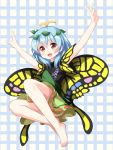 1girl :d \o/ arms_up barefoot blue_hair butterfly_wings eternity_larva full_body hair_between_eyes highres leaf leaf_on_head leaning_forward open_mouth outstretched_arms red_eyes ruu_(tksymkw) short_hair short_sleeves smile solo touhou wings
