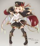 1girl :o absurdres bangs belt_buckle black_cape black_footwear black_hair black_hat black_legwear blonde_hair blush boots brown_belt buckle cape commentary_request coreytaiyo crystal dated dress_shirt eyebrows_visible_through_hair flandre_scarlet full_body grey_background gun hair_between_eyes handgun hat highres holding holding_sword holding_weapon iron_cross knee_boots looking_at_viewer luger_p08 military_hat multicolored multicolored_cape multicolored_clothes open_mouth peaked_cap red_cape red_eyes sheath shirt side_ponytail signature simple_background solo standing sword thigh-highs touhou translation_request unsheathed weapon white_shirt wings