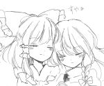 2girls blush bow braid cheek-to-cheek closed_eyes commentary cuddling frilled_shirt_collar frills hair_bow hakurei_reimu hand_holding interlocked_fingers kirisame_marisa large_bow long_hair multiple_girls no_hat no_headwear pen_(medium) side_braid single_braid sketch sleeping sleeping_on_person sleeping_upright smile touhou traditional_media turtleneck vest wavy_hair yuri yururi_nano