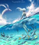1girl blue_sky clouds day fish from_behind highres long_hair motion_blur one-piece_swimsuit original partially_submerged sky solo star_(sky) starry_sky swimsuit water watermark web_address wenqing_yan whale white_hair wind
