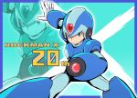 1boy 2013 android anniversary arm_cannon blue_background capcom copyright_name gloves green_eyes helmet male_focus rockman rockman_x smile solo text tonami_kanji weapon white_gloves
