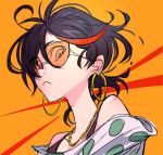 1girl alternate_costume black_hair chibi earrings hamaguri_(nirak1203) hoop_earrings jewelry kill_la_kill looking_at_viewer matoi_ryuuko multicolored_hair necktie off_shoulder orange_background redhead short_hair solo sunglasses
