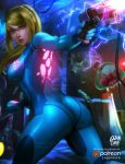 ass blonde_hair blue_bodysuit bodysuit gun handgun high_ponytail highres logan_cure long_hair looking_at_viewer metroid metroid_(creature) mole mole_under_mouth nintendo patreon ponytail samus_aran shiny shiny_clothes skin_tight super_smash_bros. video_game weapon zero_suit