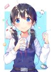 1girl =_= artist_request bird black_hair blue_background blue_dress blue_eyes blush closed_eyes closed_mouth collared_shirt commentary_request dera_mochimazzui dress food holding kitashirakawa_tamako long_hair long_sleeves low_twintails mochi neck_ribbon paper_cup red_ribbon ribbon school_uniform shirt shoonear sleeveless sleeveless_dress smile string_phone tamako_market twintails two-tone_background wagashi white_background white_shirt