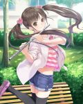 1girl absurdres black_legwear blue_shorts brown_eyes brown_hair day denim denim_shorts floating_hair flute highres holding holding_instrument instrument jacket kishida_mel long_hair looking_at_viewer midriff one_leg_raised open_clothes open_jacket outdoors school_fanfare shirt shoes short_shorts shorts solo standing standing_on_one_leg striped striped_shirt thigh-highs tree twintails very_long_hair white_jacket zettai_ryouiki