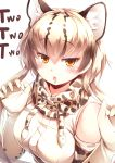 1girl absurdres bare_shoulders blonde_hair blush brown_hair claw_pose elbow_gloves extra_ears eyebrows_visible_through_hair fang gloves hair_between_eyes highres kanzakietc kemono_friends looking_at_viewer multicolored_hair ocelot_(kemono_friends) ocelot_ears ocelot_print open_mouth orange_eyes print_gloves shirt short_hair_with_long_locks sleeveless sleeveless_shirt solo white_shirt