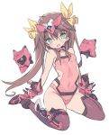 1girl :d arm_support bangs bare_shoulders blade_(galaxist) blush bow breasts brown_hair brown_legwear commentary_request copyright_request covered_navel eyebrows_visible_through_hair fang full_body gloves green_eyes hair_between_eyes hair_bow head_tilt headgear leotard long_hair open_mouth pink_footwear pink_gloves pink_leotard robot shoes sidelocks simple_background sitting small_breasts smile solo thigh-highs twintails very_long_hair wariza white_background yellow_bow