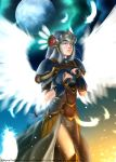 1girl armor armored_dress blue_armor breastplate breasts dog_hate_burger feathers helmet lenneth_valkyrie long_hair shoulder_pads silver_hair solo valkyrie valkyrie_profile very_long_hair winged_helmet wings