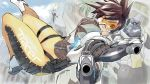 2girls animal bangs blue_sky bodysuit bomber_jacket brown_eyes brown_gloves brown_hair brown_jacket clouds day dual_wielding eyebrows gloves goggles gorilla gun hanabusa_(xztr3448) harness holding holding_gun holding_weapon jacket leather leather_jacket mercy_(overwatch) multiple_girls orange_bodysuit overwatch parted_lips short_hair sky smile solo_focus spiky_hair thigh_strap tracer_(overwatch) weapon white_footwear winston_(overwatch) x_arms