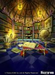 book company_name force_of_will lamp library map no_humans official_art scenery scroll ynagasaki