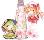 2girls ;d ;o ascot bent_knees black_hat blonde_hair blouse bottle bow chibi collared_blouse commentary_request diamond_(shape) eyebrows eyebrows_visible_through_hair eyelashes flandre_scarlet floating flower_request frilled_skirt frills gem green_eyes green_hair green_skirt hair_ribbon hat hat_bow heart heart_of_string knees_together komeiji_koishi leaf looking_at_viewer mary_janes medium_hair mob_cap moko_(3886397) multiple_girls one_eye_closed open_mouth orange_blouse orange_bow petals puffy_short_sleeves puffy_sleeves red_eyes red_footwear red_ribbon red_skirt red_vest ribbon shirt shoes short_sleeves side_ponytail simple_background skirt sleeves_past_fingers smile standing third_eye touhou triangle twitter_username vest white_background white_shirt wings wrist_cuffs yellow_neckwear