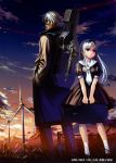 1boy 1girl absurdres abyss alphonse_(white_datura) beard black_dress cigarette clouds dress el elysion evening facial_hair grass hair_ribbon height_difference highres instrument_case long_hair mask petite puffy_sleeves red_eyes ribbon sailor_dress scan sky socks sound_horizon sunset translation_request trench_coat violin_case white_hair white_legwear wind_turbine windmill
