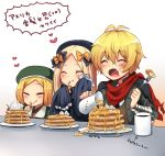 1boy 2girls :o :t ^_^ abigail_williams_(fate/grand_order) antenna_hair bangs beret billy_the_kid_(fate/grand_order) black_bow black_dress black_hat black_jacket blonde_hair bow brown_shirt brown_vest cherry closed_eyes closed_mouth collared_shirt commentary_request cup dress eating eyebrows_visible_through_hair fang fate/grand_order fate_(series) food fork fruit green_hat green_jacket hair_between_eyes hair_bow hand_on_own_cheek hat heart holding holding_fork jacket jug long_hair long_sleeves marimo_danshaku mug multiple_girls open_mouth orange_bow pancake parted_bangs paul_bunyan_(fate/grand_order) pouring red_scarf scarf shirt sleeves_past_fingers sleeves_past_wrists stack_of_pancakes syrup torn_scarf translation_request very_long_hair vest whipped_cream white_shirt