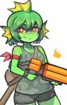 1girl blush closed_mouth collarbone dog_tags eyebrows fish green_hair green_skin gun holding holding_gun holding_weapon looking_at_viewer nuclear_throne red_eyes short_hair smile solo wahae weapon