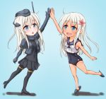 1girl :o ;d anti_(untea9) black_footwear black_skirt blonde_hair blue_background blue_eyes chibi commentary_request cropped_jacket dual_persona eyebrows_visible_through_hair flower garrison_cap hair_flower hair_ornament hat high_five high_heels highres kantai_collection long_hair military military_uniform one_eye_closed open_mouth pantyhose pleated_skirt ro-500_(kantai_collection) school_swimsuit school_uniform serafuku simple_background skirt slippers smile swimsuit tan thigh-highs u-511_(kantai_collection) uniform