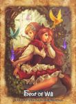 2girls animal_ears apron back-to-back blonde_hair braid butterfly company_name fire flower force_of_will green_eyes hair_flower hair_ornament hood leaf little_red_riding_hood_(force_of_will) long_hair mirror multiple_girls nyarlathotep_(force_of_will) official_art open_mouth sitting twin_braids wolf_ears