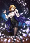 1girl adsouto blonde_hair breasts cape cleavage cleavage_cutout corset earrings erect_nipples glasses glynda_goodwitch green_eyes highres jewelry magic medium_breasts pantyhose pencil_skirt riding_crop rwby shirt skirt star starry_background tagme taut_clothes taut_shirt teacher