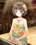 absurdres blush bow brown_eyes brown_hair collarbone dress flower green_dress hair_bow highres indoors instrument jewelry kishida_mel necklace piano red_flower school_fanfare short_hair sitting sleeveless sleeveless_dress smile solo_focus sparkle stage strapless strapless_dress yellow_bow