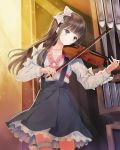 1girl absurdres black_skirt bow brown_eyes brown_hair collarbone cowboy_shot floating_hair hair_bow highres holding holding_instrument indoors instrument kishida_mel long_hair music organ playing_instrument school_fanfare shirt skirt solo sparkle standing suspender_skirt suspenders thigh_strap violin white_bow white_shirt
