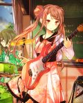 2girls absurdres brown_eyes brown_hair chalkboard classroom clouds cowboy_shot day dress floating_hair green_hair guitar hair_between_eyes hair_ornament highres holding holding_instrument indoors instrument kishida_mel long_hair multiple_girls musical_note school_fanfare smile standing twintails window