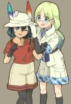 2girls 524_(kemono_ethread) black_hair blue_eyes blue_hair bucket_hat camouflage_trim cargo_shorts commentary_request elbow_gloves eyebrows_visible_through_hair feathers glasses gloves gradient_hair green_hair hair_tie hand_on_another's_head hat headwear_removed highres kaban_(kemono_friends) kemono_friends khakis kneehighs long_hair mirai_(kemono_friends) multicolored_hair multiple_girls one_eye_closed pantyhose shirt short_hair shorts t-shirt v-shaped_eyebrows