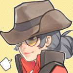 1girl black_eyes black_hair blush brown_hat closed_mouth genderswap genderswap_(mtf) hat looking_away short_hair smile solo speech_bubble sunglasses team_fortress_2 the_sniper upper_body wahae
