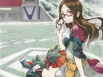 1girl arm_at_side bangs belt black_legwear breasts brown_eyes brown_hair closed_mouth cravat dress eyebrows eyelashes fingernails gen_4_pokemon glasses hanabusa_(xztr3448) hand_in_hair hand_up long_hair looking_away multicolored multicolored_clothes multicolored_dress nia_(pokemon) orange_belt over-kneehighs palms parted_bangs pink-framed_eyewear pokemon pokemon_(creature) pokemon_(game) pokken_tournament pouch semi-rimless_eyewear short_dress short_sleeves sitting small_breasts smile solo stadium straight_hair thigh-highs turtleneck under-rim_eyewear wariza weavile white_neckwear