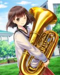 1girl ;d absurdres blue_sky brown_eyes brown_hair clouds collarbone day euphonium floating_hair green_ribbon grey_sweater hair_ribbon highres holding holding_instrument instrument kishida_mel looking_at_viewer one_eye_closed open_mouth outdoors red_skirt ribbon school_fanfare short_hair skirt sky smile solo standing