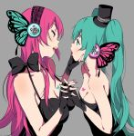 2girls eye_contact fingerless_gloves gloves green_hair hand_holding hand_on_another's_chin hat hatsune_miku interlocked_fingers long_hair looking_at_another magnet_(vocaloid) megurine_luka mini_hat mini_top_hat multiple_girls nail_polish open_mouth redhead senjitsu_musou top_hat twintails vocaloid yuri