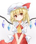 1girl ascot blonde_hair bow buttons closed_mouth commentary_request cowboy_shot crossed_arms eyebrows_visible_through_hair eyelashes flandre_scarlet frilled_shirt_collar frilled_skirt frills gem hat hat_bow head_tilt highres looking_at_viewer mob_cap one_side_up puffy_short_sleeves puffy_sleeves red_bow red_eyes red_skirt red_vest sash shirt short_hair short_sleeves simple_background skirt smile solo tarumaru touhou vest white_background white_sash white_shirt wings yellow_neckwear