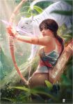 blood blue_eyes bow_(weapon) brown_hair forest from_behind jungle lara_croft nature over_shoulder plant ponytail sunlight tank_top tattoo tiger tomb_raider tree weapon white_tiger