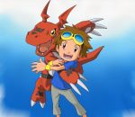 1boy arm_hug blue_background blue_hoodie brown_hair claws creature digimon digimon_tamers goggles goggles_on_head grey_pants guilmon highres looking_at_viewer matsuda_takato nakatsuru_katsuyoshi official_art open_mouth orange_eyes pants red_eyes reptile shirt smile tail tongue white_shirt wristband yellow-framed_eyewear yellow_wristband