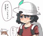 antlers axis_deer_(kemono_friends) backpack bag black_gloves black_hair blush brown_hair collarbone deer_ears flying_sweatdrops gloves hair_between_eyes hat_feather holding_strap kaban_(kemono_friends) kemono_friends long_hair red_shirt shirt short_hair short_sleeves simple_background smile speech_bubble tanaka_kusao thought_bubble upper_body white_background