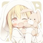 1girl ;d animal_ears animal_hood ayanepuna bangs battle_girl_high_school blonde_hair blush brown_eyes bunny_hood commentary_request eyebrows_visible_through_hair hair_between_eyes head_tilt heart highres holding holding_stuffed_animal hood hood_up hoodie long_hair long_sleeves looking_at_viewer one_eye_closed open_clothes open_hoodie open_mouth outline rabbit_ears sidelocks sleeves_past_wrists smile solo stuffed_animal stuffed_bunny stuffed_toy watagi_michelle white_hoodie white_outline