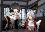 2girls animal_ears bangs black_hair blurry blurry_background bowl breasts chopsticks commentary_request fingers_together fur_collar futatsuki_eru highres holding indoors inubashiri_momiji medium_breasts medium_hair multiple_girls plant pointy_ears pom_pom_(clothes) potted_plant red_eyes rice shameimaru_aya sitting skirt smile standing steam table tail touhou tray white_hair wolf_ears wolf_tail